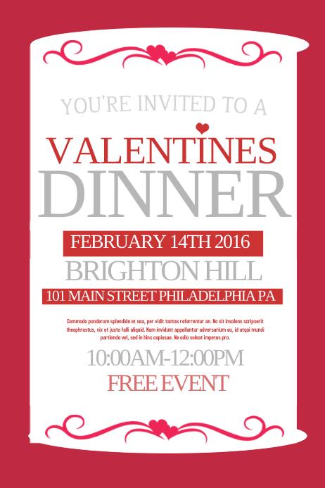 Valentines Dinner Plakat template