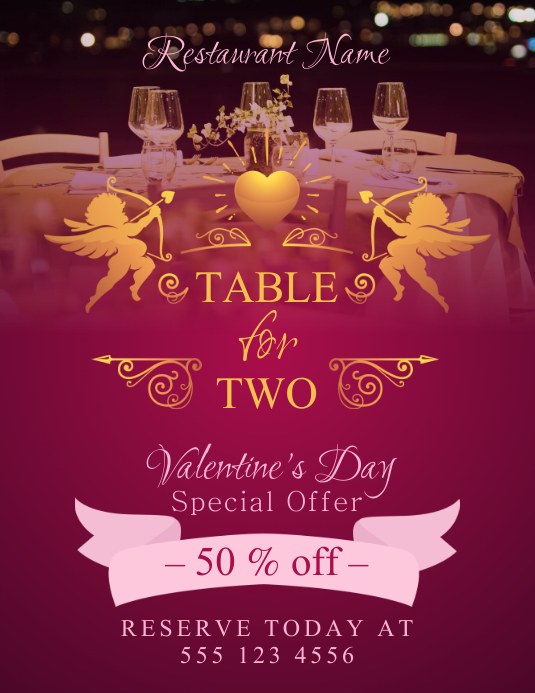 valentines dinner promotion flyer template postermywall