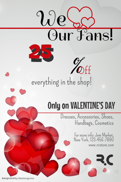 Valentines Discount Flyer Template