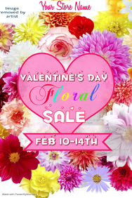 Valentines Floral Sale Poster Template
