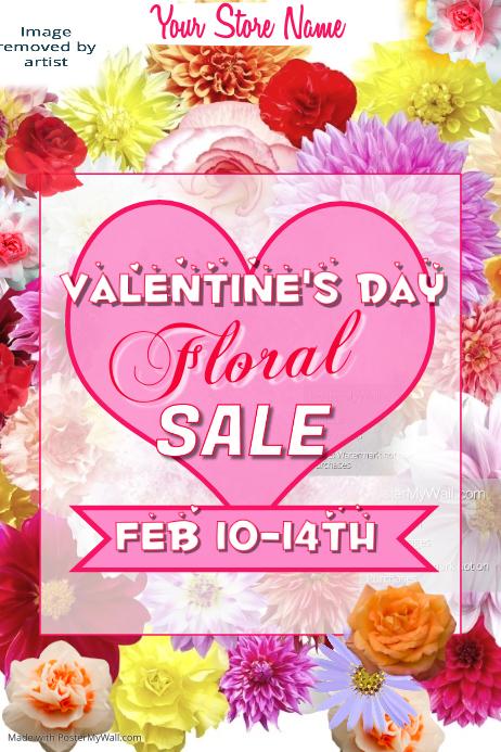 Valentines Floral Sale Poster