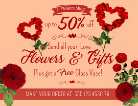 Valentines Flower Shop Discount Flyer Template