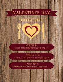 Valentines flyer templates,event templates,menu templates