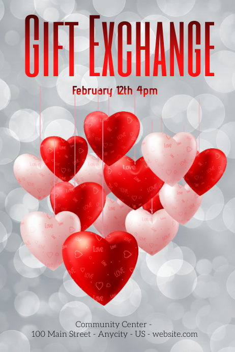 Valentines Gift Exchange Template Postermywall