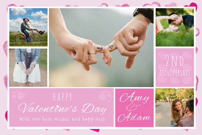 Valentines Greeting Couple Collage Poster Template