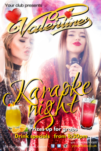 Valentines Karaoke Evening Poster template