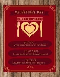 Valentines Menu,Event template,Menu template