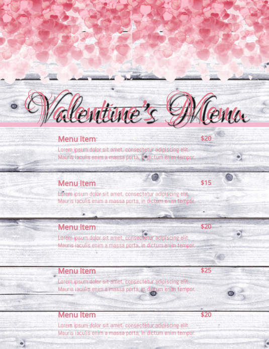 Valentines Menu Flyer (Letter pang-US) template