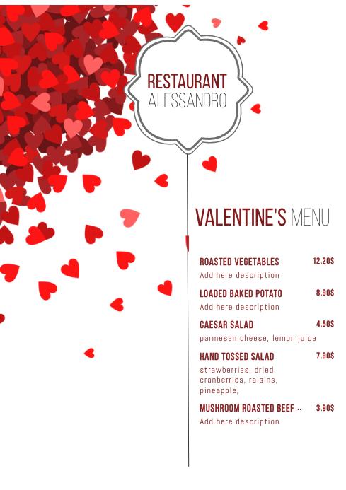 Valentines menu Template A4