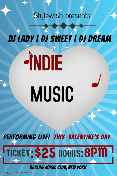 Valentines Music Event Flyer Template