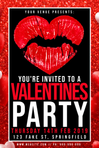 Valentines Party Poster template