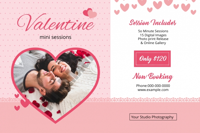 Valentines Photography Mini Session Etichetta template