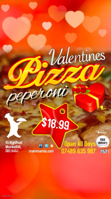 Valentines Pizza Instagram Digital Display (9:16) template