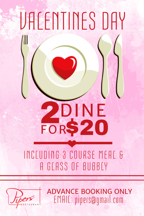 Valentines Restaurant Flyer Template