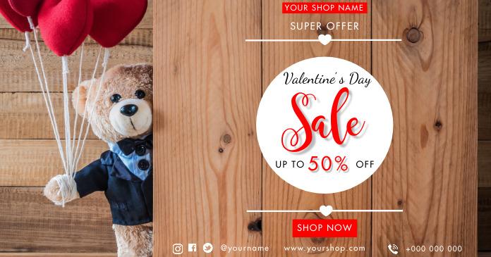 Valentines sale รูปภาพที่แบ่งปันบน Facebook template