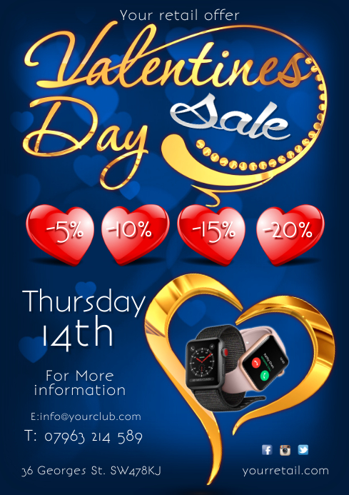 Valentines sale flyer A4 template