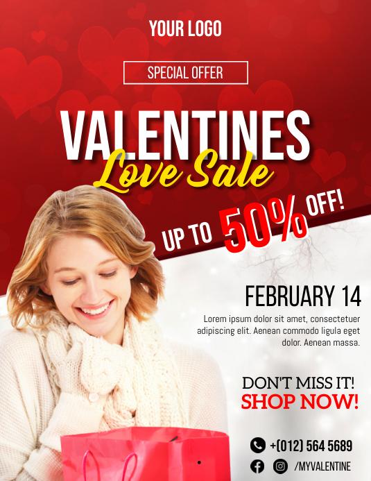 Valentines Sale Flyer Template Løbeseddel (US Letter)