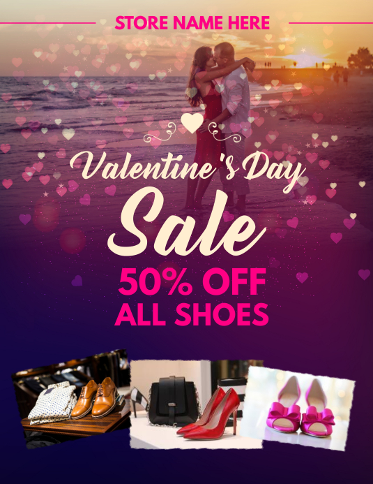 Valentines Shoe Discount Flyer Template