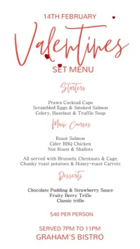 Valentines Special Digital Menu Template