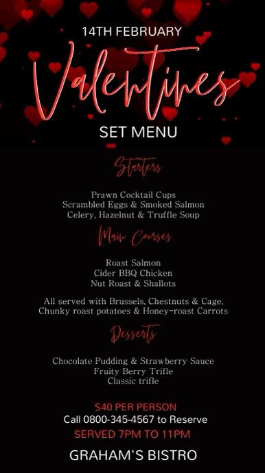 Valentines Special Digital Menu Template