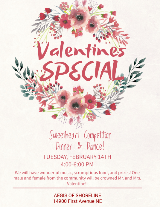 Valentines Special Dinner & Dance Flyer Template