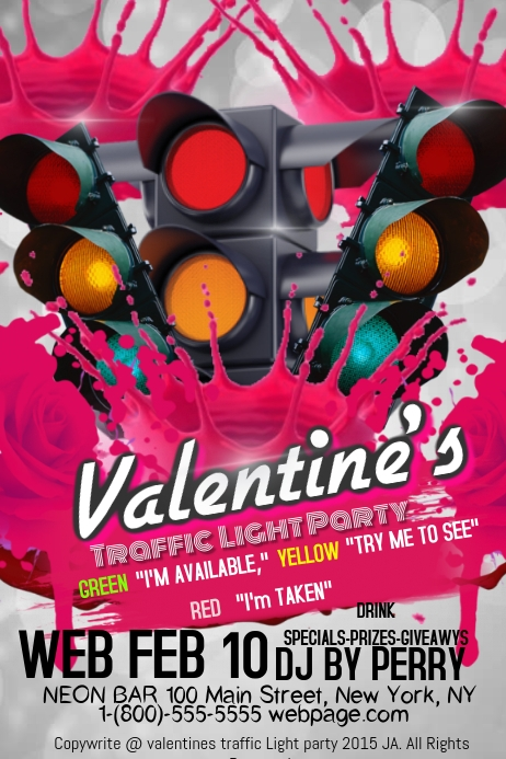 valentines traffic light party template postermywall