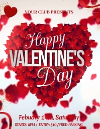 Valentines video, valentines party, valentine Ulotka (US Letter) template