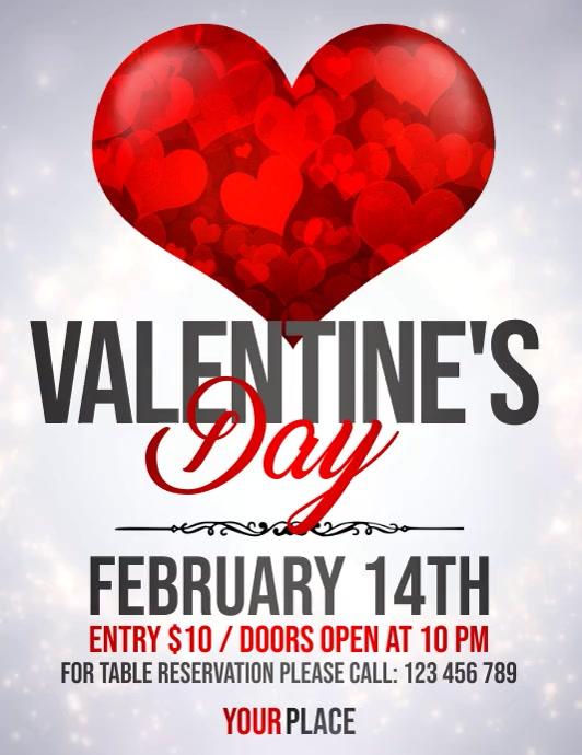 valentines video,valentine's party, valentine Flyer (US Letter) template