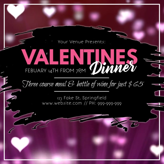 Valentines Video โพสต์บน Instagram template