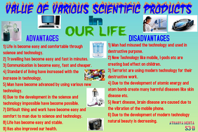 Value of various scientific products in our lives