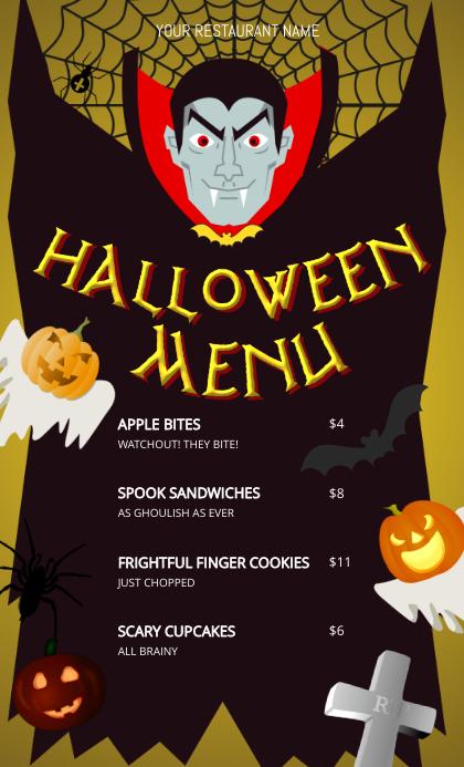 Vampire Halloween Menu US Legal template