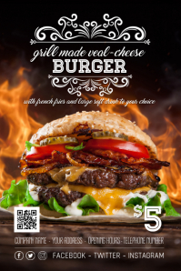 Veal Burger Offer Special Poster Flyer