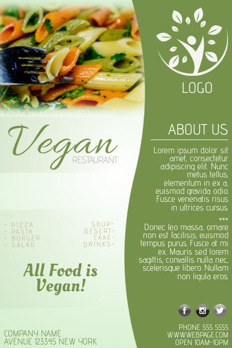 Vegan food restaurant poster flyer template