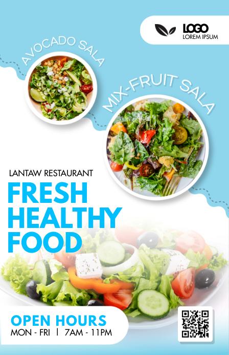 Vegan Food Restaurant Table Talker Design Halv side bred template