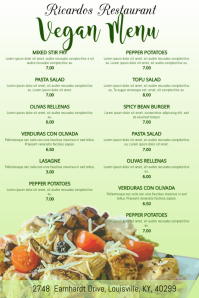 Vegan Vegetarian Food Restaurant Flyer Poster Menu Customizable Template