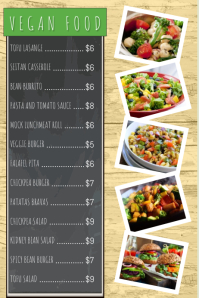 Vegan Vegetarian Food Restaurant Flyer Poster Menu Customizable Portrait Template