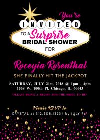 Vegas Theme Bridal Shower   Bachelorette Party Invitation