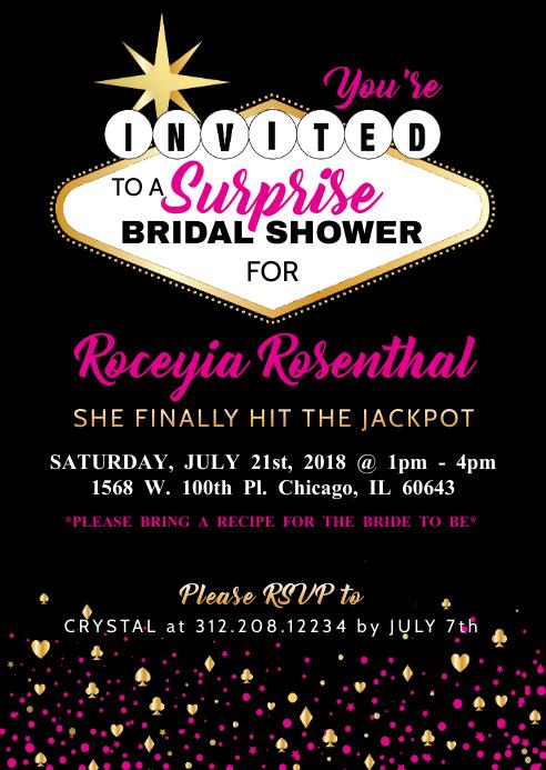 Vegas Theme Bridal Shower Bachelorette Party Invitation Template