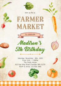 Vegetables farmer market birthday invitation A6 template