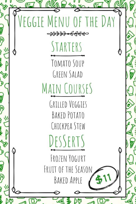 picture regarding Printable Menu Templates titled Vegan Vegetarian Hand Drawn Printable Menu Template
