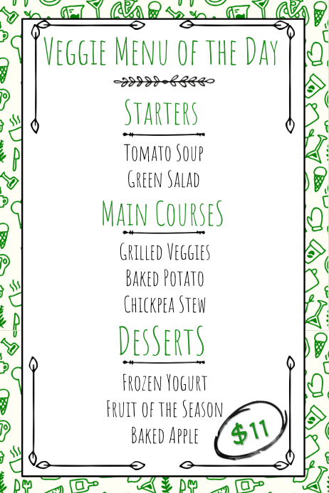 vegan vegetarian hand drawn printable menu template postermywall