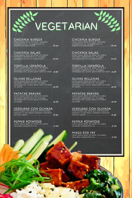 Vegan Vegetarian Food Restaurant Flyer Poster Menu Chalkboard Customizable Template