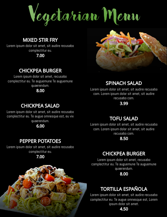 Vegan Vegetarian Healthy Food Restaurant Flyer Poster Menu Customizable Template