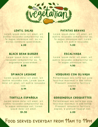 Vegan Vegetarian Restaurant Printable Menu Template