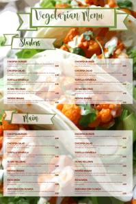Vegan Vegetarian Food Restaurant Flyer Poster Menu Customizable Template