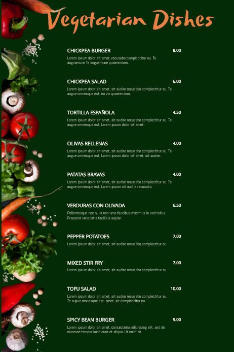 Vegan Vegetarian Food Card Restaurant Flyer Poster Menu Customizable Template