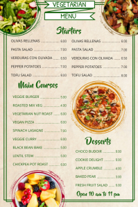 Vegetarian Vegan Menu Template