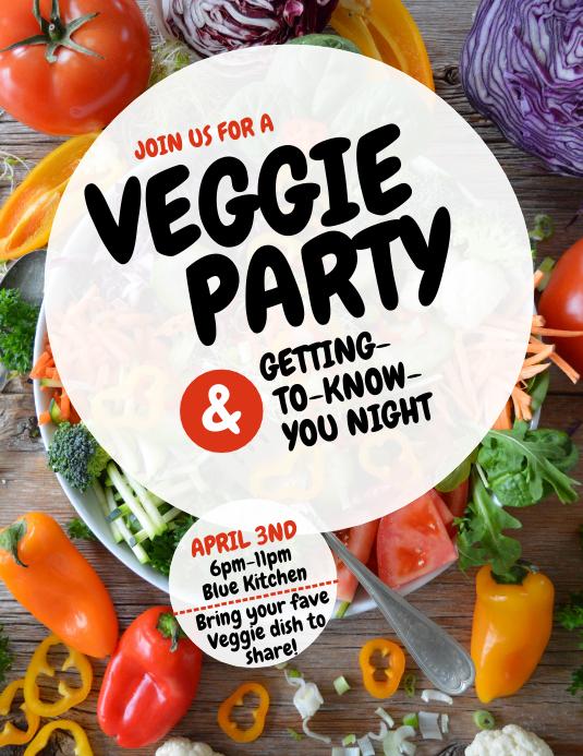 veggie vegetable party flyer