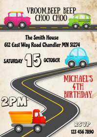 Vehicles birthday party invitation