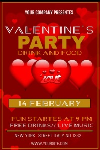 VELENTINE'S PARTY Poster template